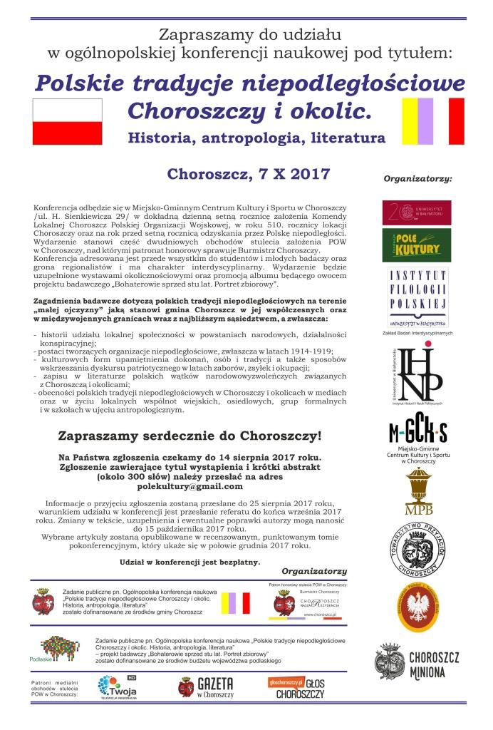 konferencja 7 X 2017 Choroszcz zaproszenie
