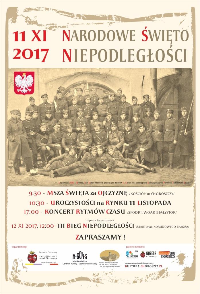11 LISTOPADA NIEPODLEGŁOŚCI 2017 plakat Choroszcz