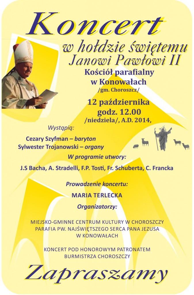 plakat Dzień Papieski Konowały 2014 A3PLUS